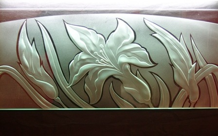 engraved and frosted glass flower