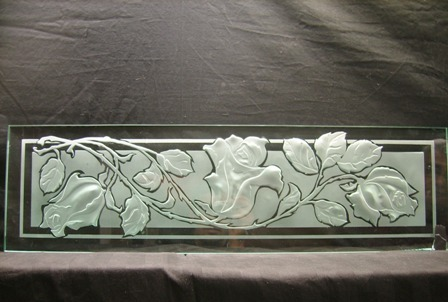 engraved and frosted glass roses