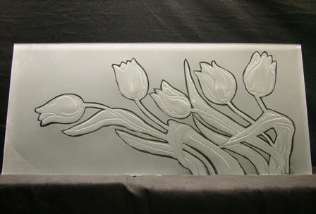 engraved and frosted glass tulips