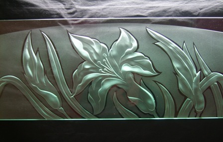 engraved glass grass and flowers