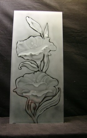 engraved glass floral pattern