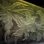 illuminated engraved glass pattern-floral