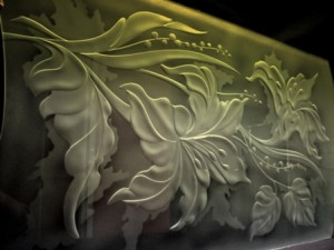 illuminated engraved glass pattern-floral 67